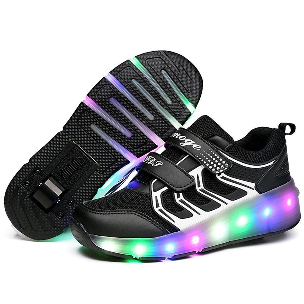 LED Light Up Single/Double Wheel Roller Skate Shoes for Boys Girls Kid(Black 1 wheel 42 M EU/8 M US Big Kid)