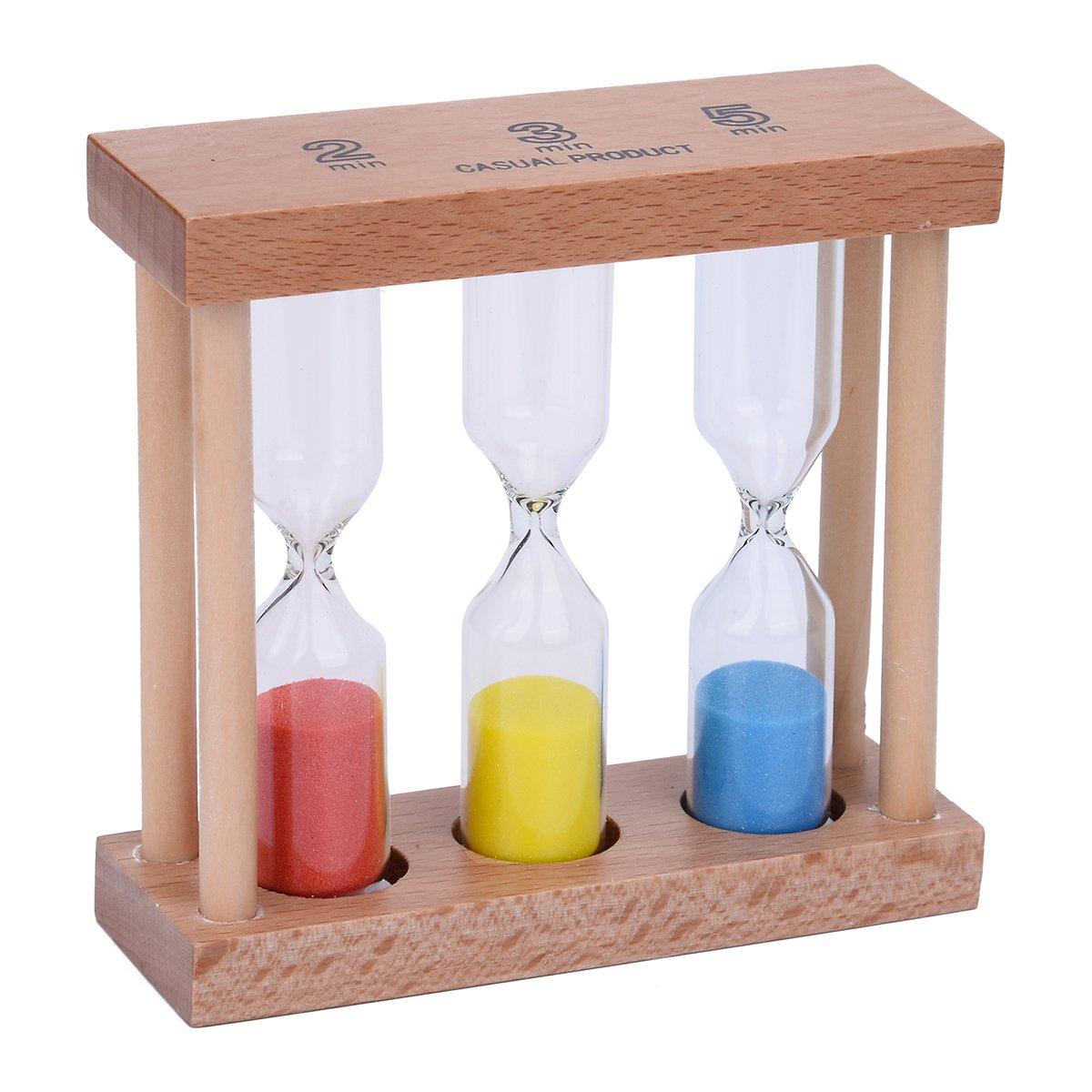 Sand timer design clessidra clessidra sabbia orologio timer legno Set 3/pz Color 2-2//3//5 Min