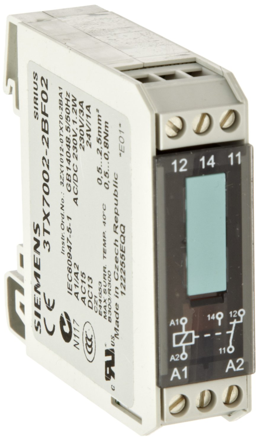 Interface Relay, Narrow Design, Screw Terminal, Input Interface With Relay Output, Hard Gold Plated Contacts, 1 CO Contact, 17.5mm Width, 230VAC/DC Control Supply Voltage
