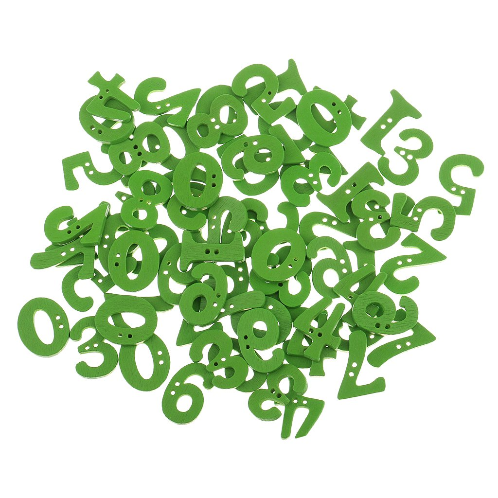 Sharplace 100Pieces Wooden Number Buttons For Sewing Crafts Kids Educational Scrapbooking 14x25mm Green