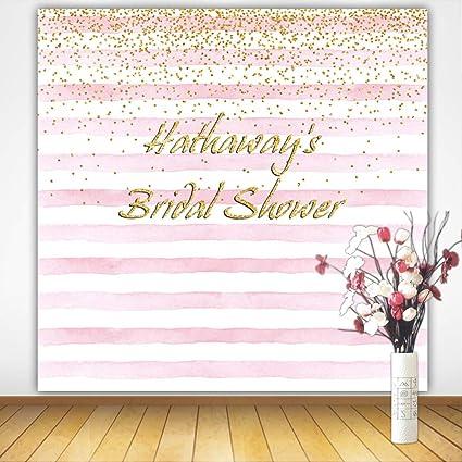 mehofoto customized bridal shower backdrop 8x8ft poly cotton personalized stripes sparkle background custom size name color