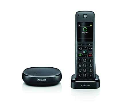 Motorola AXH01 Cordless Phone with Alexa Built-in and Call Block for  Landline Telephone Calls, Alexa Calling, Skype Calls and Voice Control of  Alexa