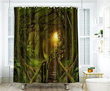 Tende Da Doccia In Tessuto : Tifee impermeabile bagno tenda da doccia misteriosa foresta d