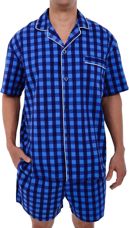 Button-Down Shorts Pjs Alexander Del Rossa Mens Woven Cotton Pajama Set