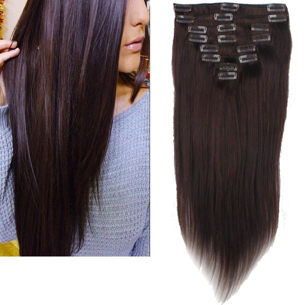Lelinta 18'' 8Pcs 100% Remy Real Human Single Thick Weft Hair Straight Extension by Lelinta (Image #1)