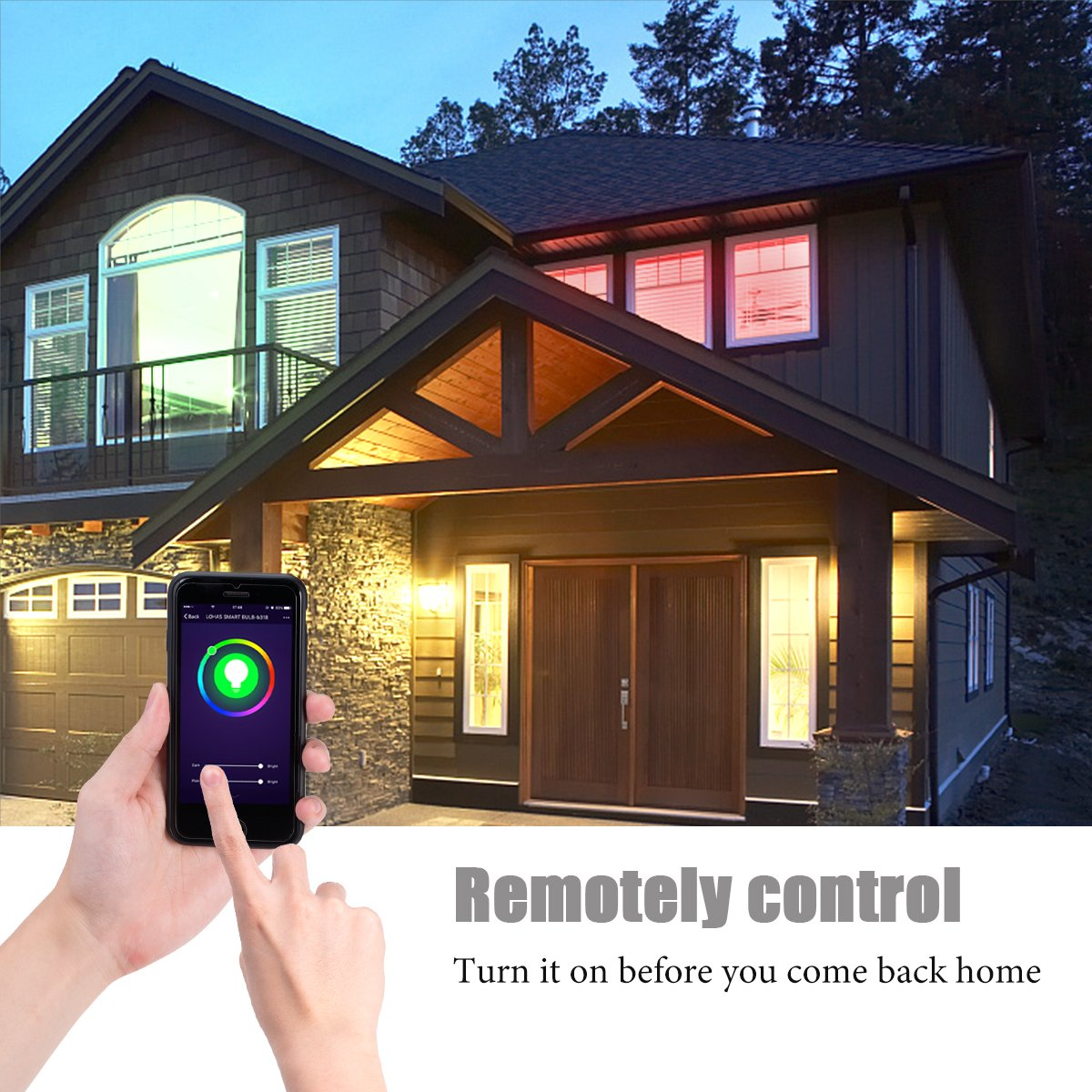 LOHAS Smart Lights Crystal Chandelier Lighting, WiFi Control LED, 100Watt Equivalent, 15W Multicolor Ceiling Lamp, 8.66 Inch Chandeliers Lighting Fixture, 1380LM Modern Pedant Light, 1 Pack