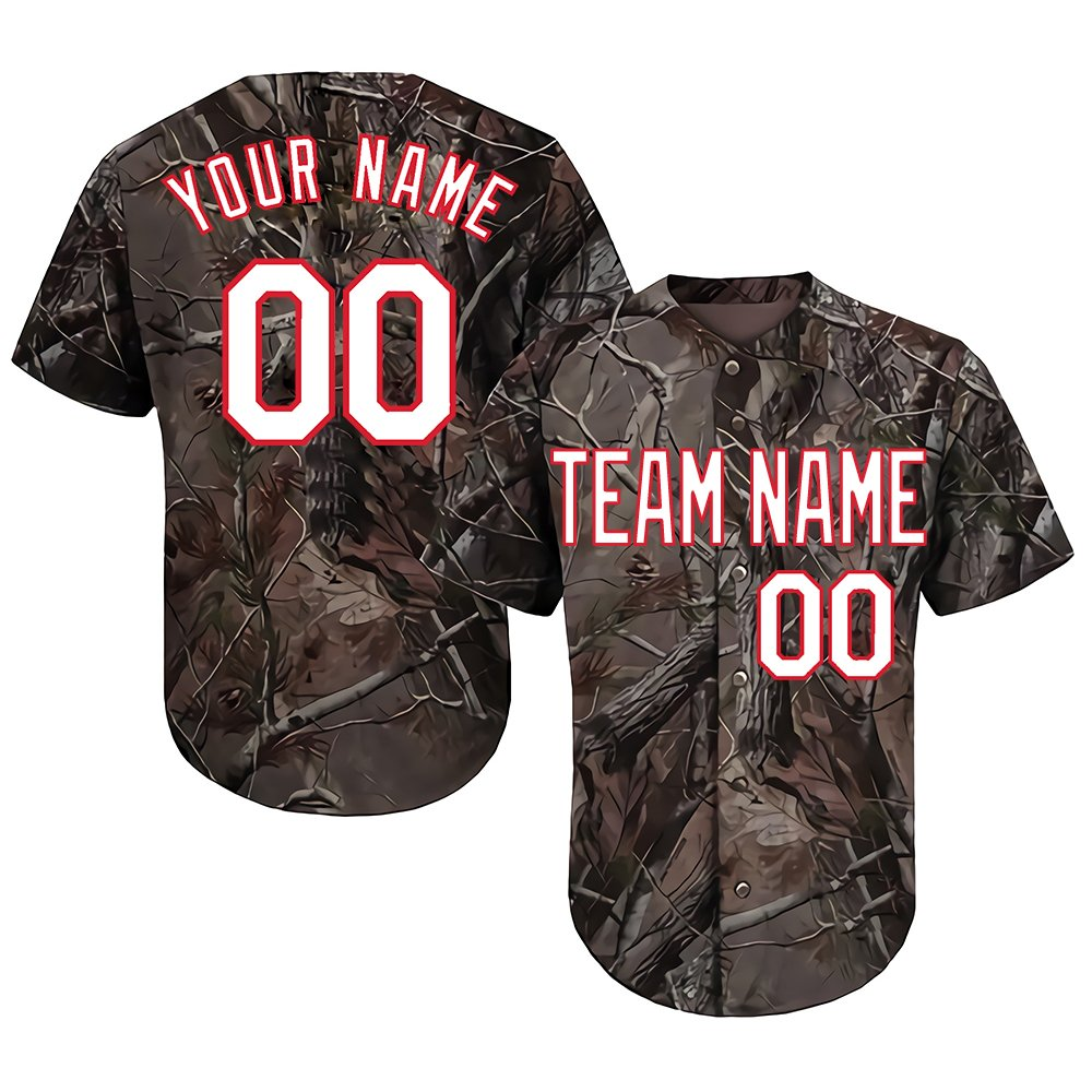 Custom Men's Realtree Camo Baseball Softball Jersey Big & Tall with Embroidered Your Name & Numbers,White-Red Size 4XL by DEHUI