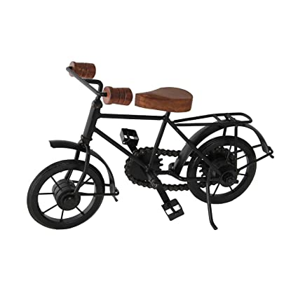 khan handicraft Wooden and Iron Cycle Antique Home Decor Product (Black, 10x7 Inch)