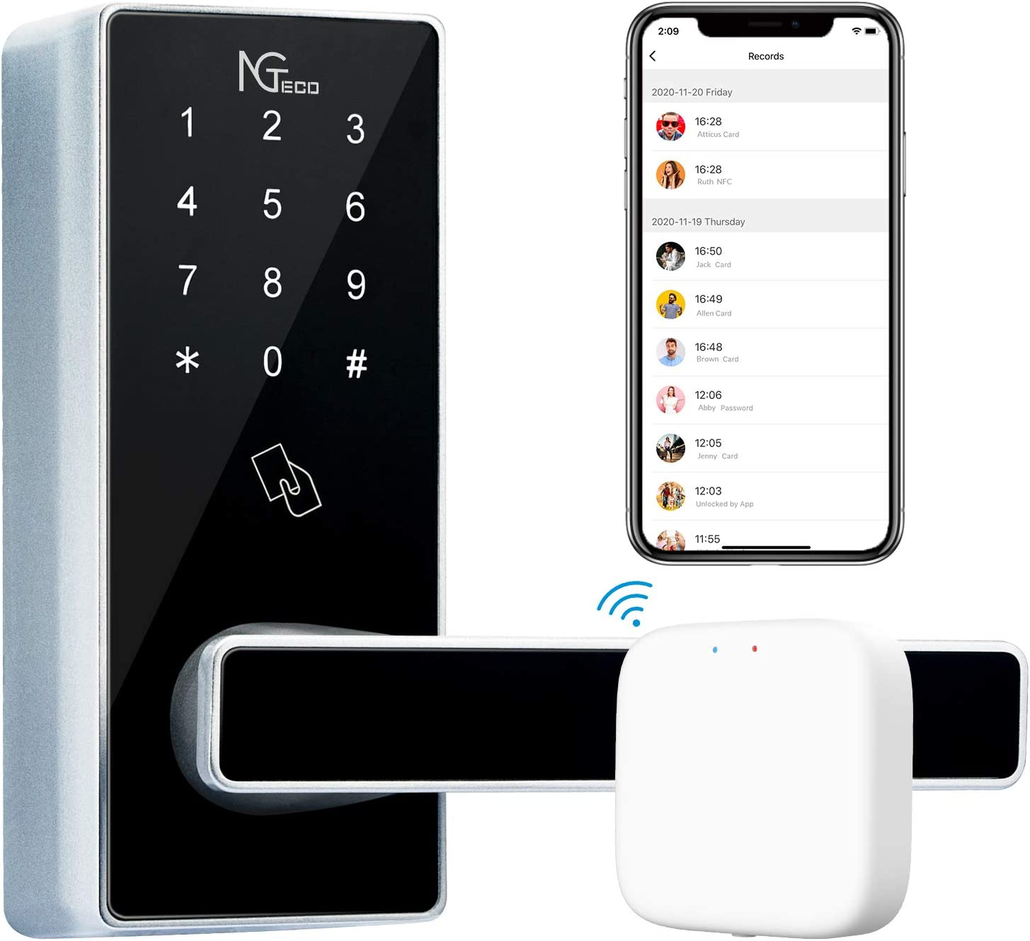 NGTeco WiFi Smart Lock Keyless Entry Door Lock Digital Electronic Lock with Gateway, Waterproof Lever Lock Deadbolt Touchscreen Keypad 5-in-1 NFC APP Code Keys and Cards for Rental House,Zinc Alloy