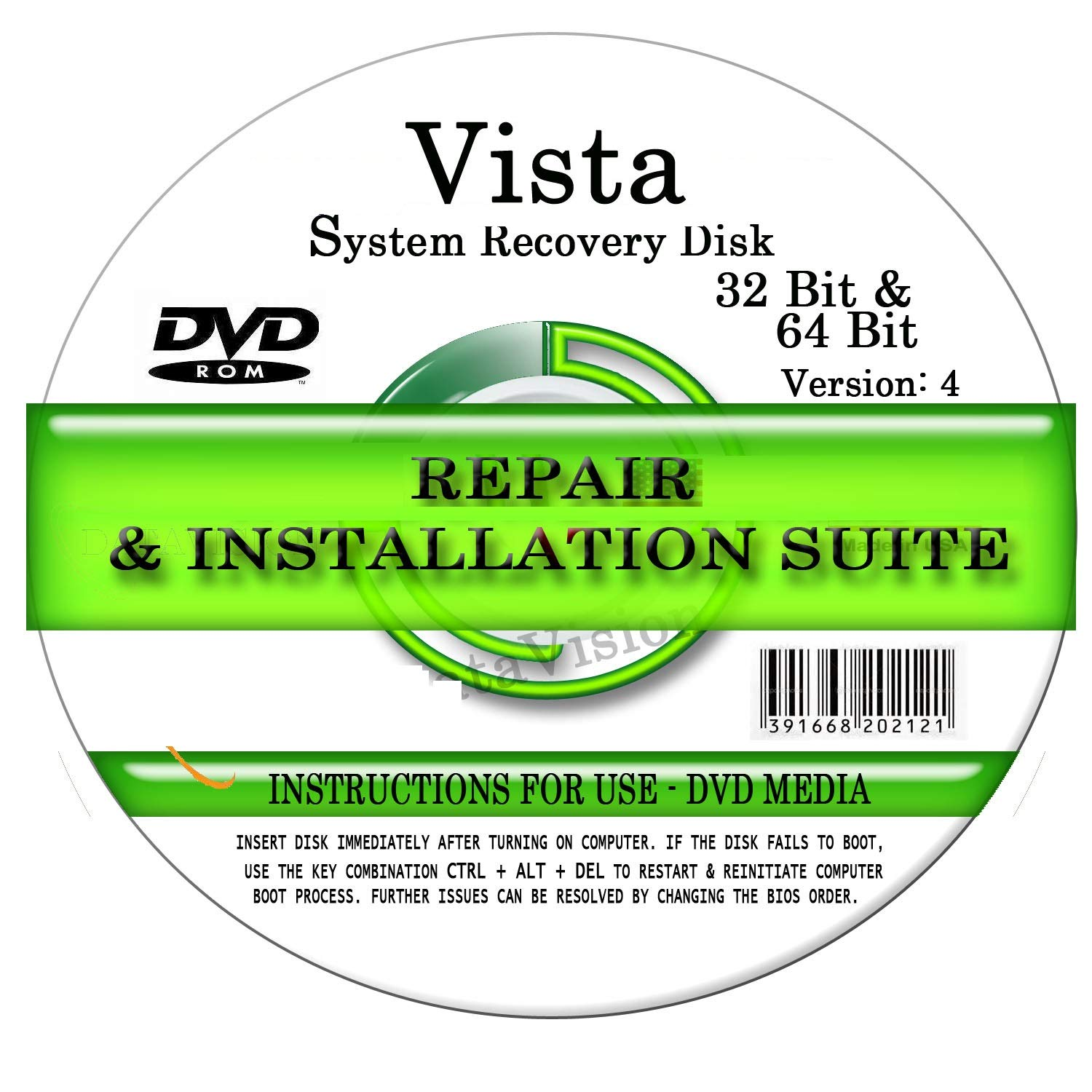 Advanced Repair Systems - Compatible WIN VISTA SYSTEM REPAIR & RE-INSTALL 32 Bit & 64 Bit BOOT DISK: Repair & Re-install Basic, Home, Premium and Ultimate by Advanced Repair Systems