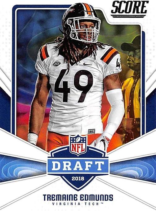 Amazon Com 2018 Score Nfl Draft 16 Tremaine Edmunds Virginia Tech Hokies Football Card Collectibles Fine Art