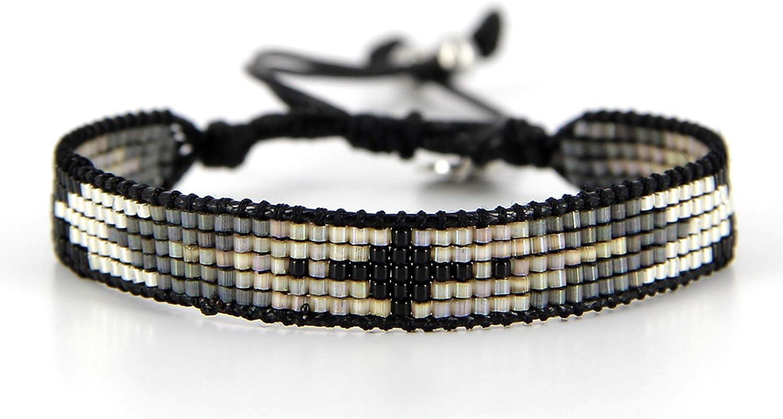 Belle Mais Pas Que Pulsera de cordón Black Rock Silver, perla Miyuki, negro 2