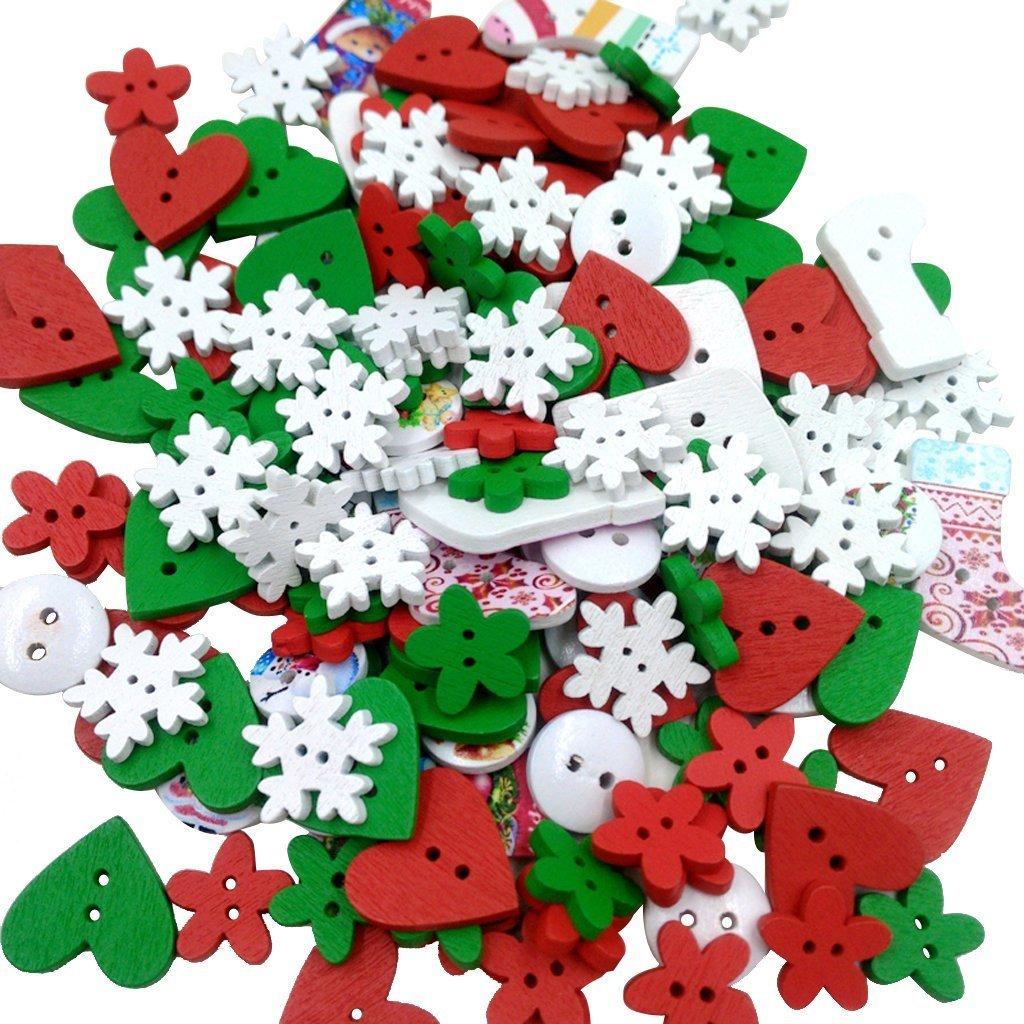 Sungpunet bottoni in legno dipinto di colori misti DIY scrapbooking cucito Craft e decorazioni di Natale