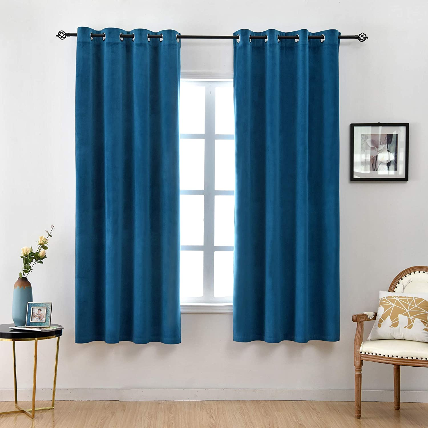 SUNOOMY Deluxe Blackout Velvet Curtain Panels - Grommet Window Treatment for Living Room/Bedroom/Home Theatre (1 Pair, W52xL84-inch,Royal Blue)