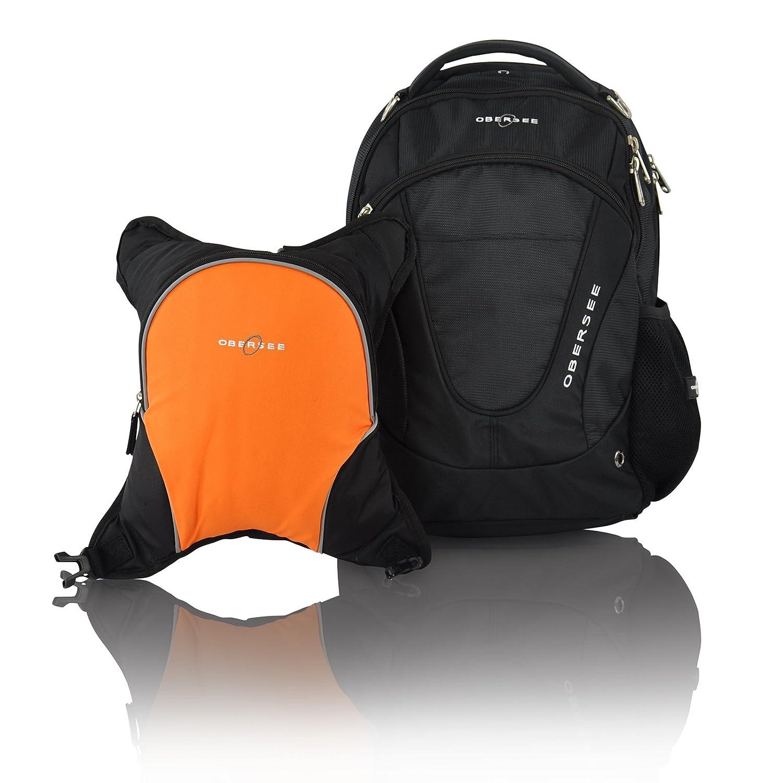 Obersee Oslo Diaper Bag Backpack with Detachable Cooler, Black/Orange