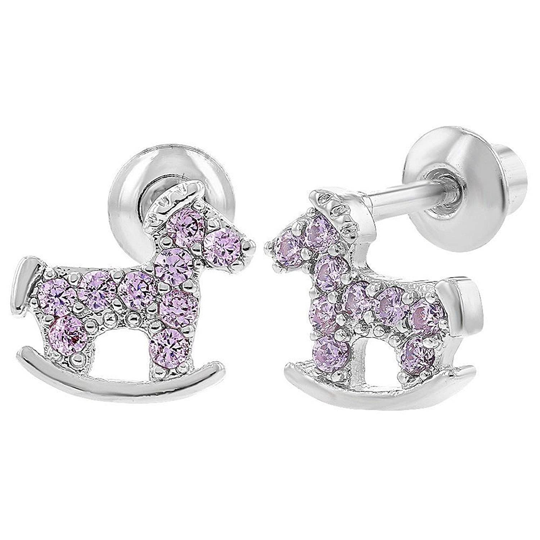 Bijoux Kids–pendientes de tornillo joyas niños caballo mecedora cristal rosa tono Plata