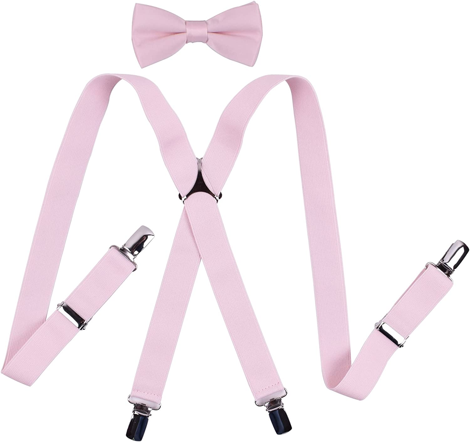 YJDS Boys Mens Suspenders and Pre Tied Bow Tie Set Solid Colors for Wedding