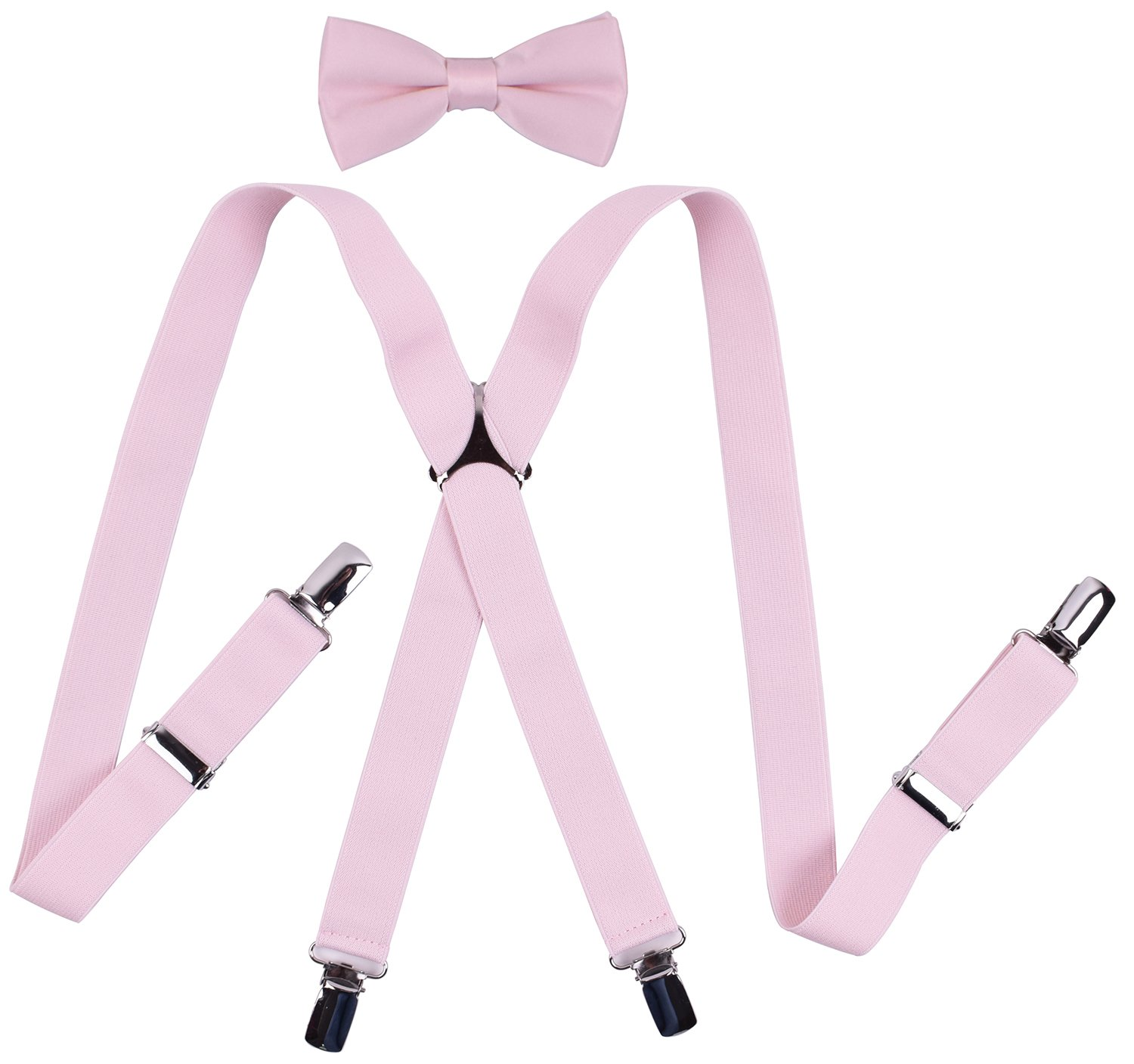 YJDS Boys' Suspenders and Bow Tie Sets Solid Clips Light Pink 30 Inches