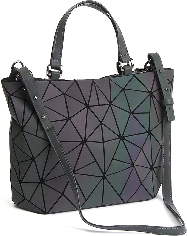 Geometric Luminous Purses and Handbags Holographic Flash Reflective Leather Rainbow Tote