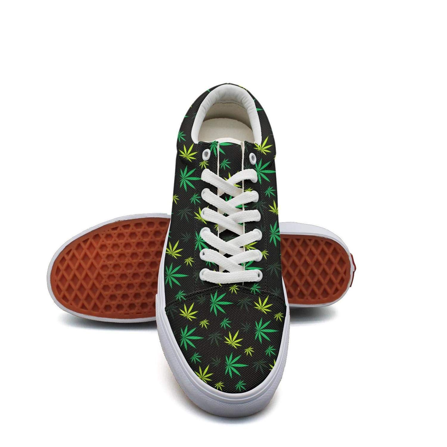 Opr7 Yellow Green Cannabis Patch Women Lace-Up Skate Shoes Canvas Upper Sneaker Breathable