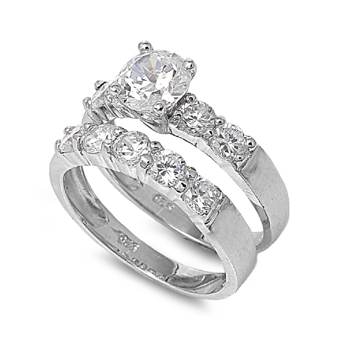 CloseoutWarehouse Round Center Cubic Zirconia Set of 2 Ring Sterling Silver Size 13