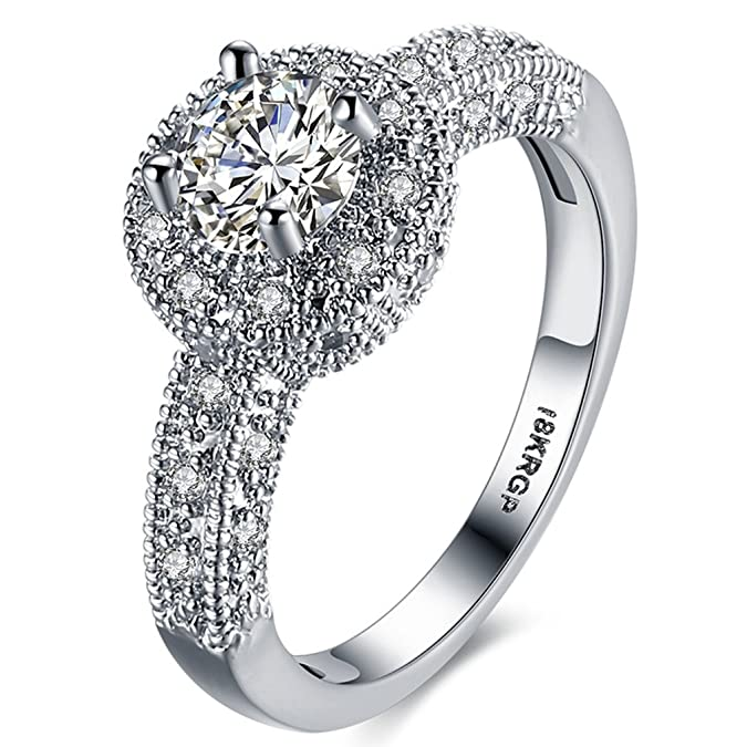 Review FENDINA Womens Wedding Engagement Ring Classic Solitaire Enternity Love Promise Rings for Her Anniversary Gift Bands - 18K White Gold Plated & CZ Crystal - FAR112