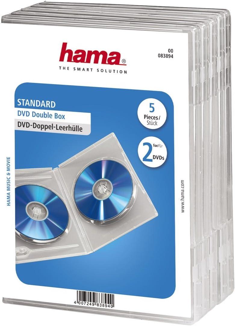 Hama - Carcasas Dobles para DVD (5 Unidades), Transparente: Amazon.es: Informática