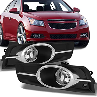 For Chevy Cruze Clear Chrome Trim Bezel Fog Lights Driver/Passenger Lamps with Wiring/Bulbs/Switch/Relay: Automotive