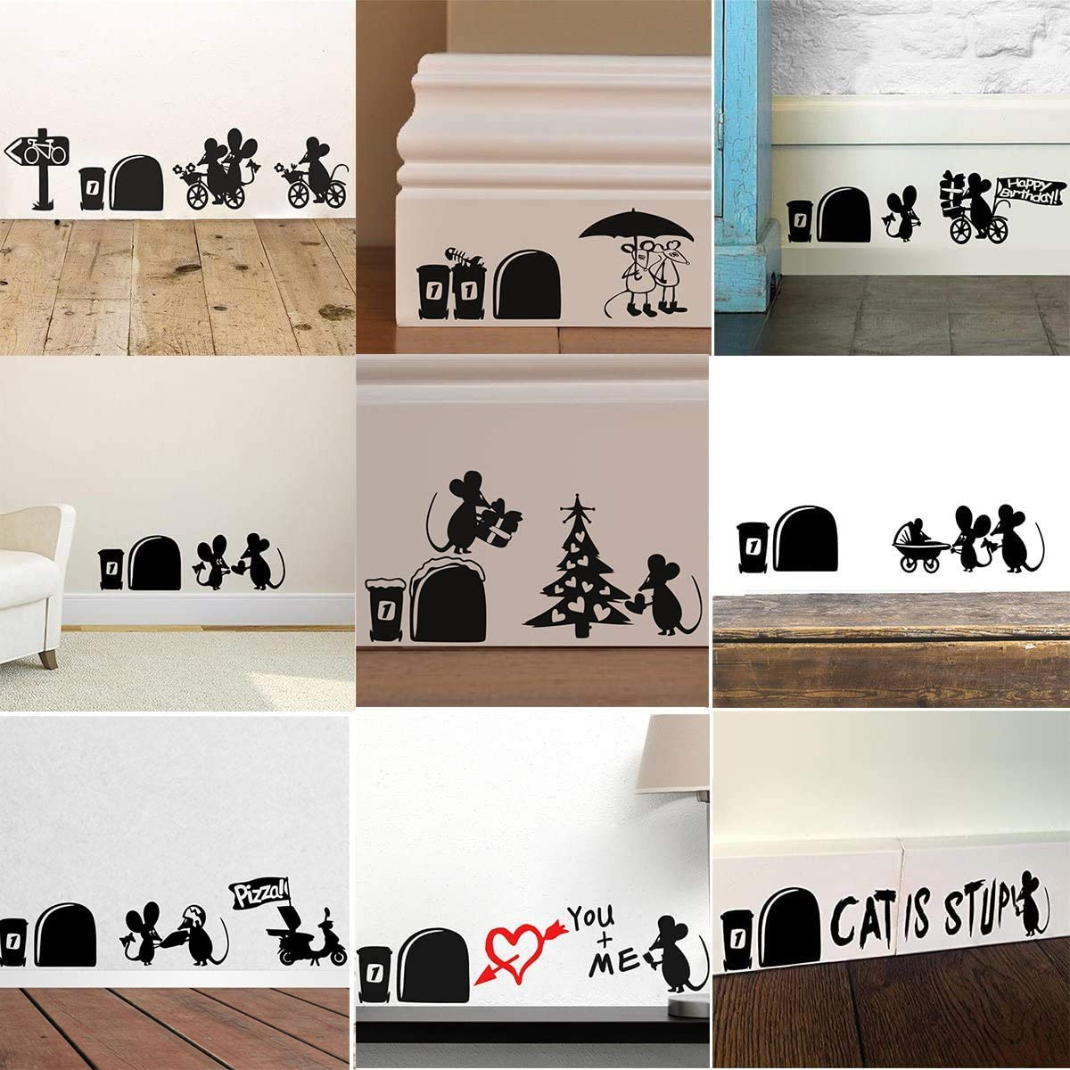 Amazon Com 9pcs Mixed Pack Cute Mouse Hole Wall Stickers Playing Nursery Room Wall Corner Decoration Diy Home Decal Animal 3d Mural Art Kitchen Dining