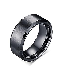 Bishilin Engraved Rings for Men Stainless Steel Wedding Band for Men Black Ring Size 8