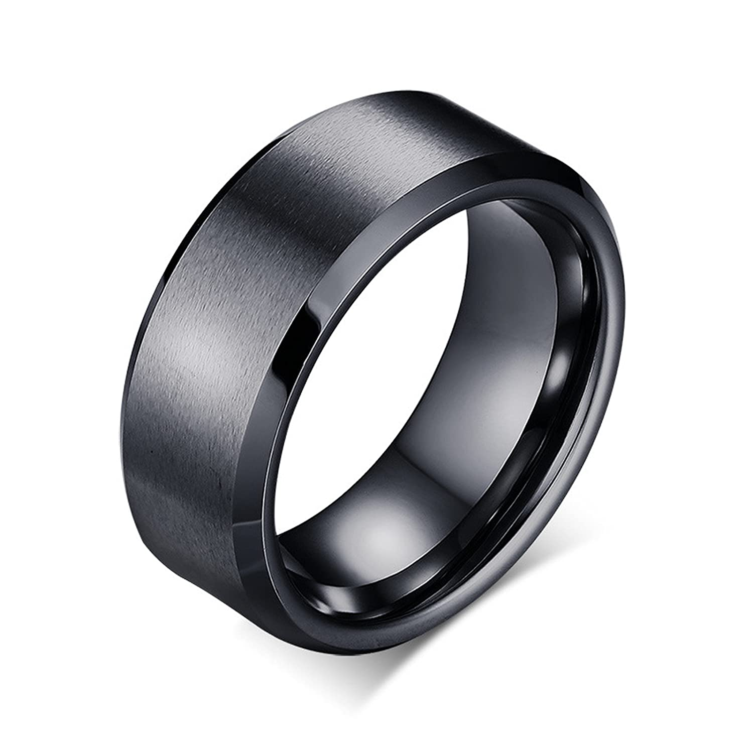 Bishilin Engraved Rings for Men Stainless Steel Wedding Band for Men Black Ring Size 5
