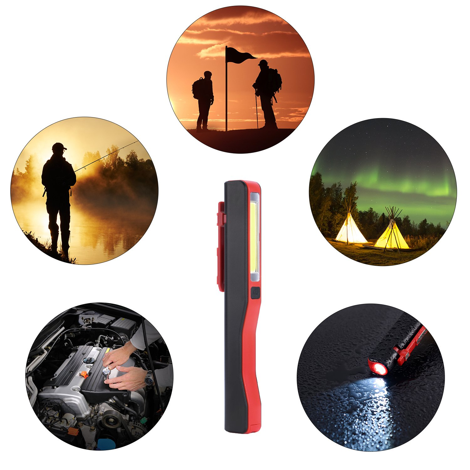 COB LED Work Light, Rechargeable Mechanic Inspection Lamp Worklight Portable Hand Pocket Pen Flashlight Flood Beam with Rotating Magnetic Strip Clip for Household, Workshop, Camping, Car Repairing by Ausein (Image #6)