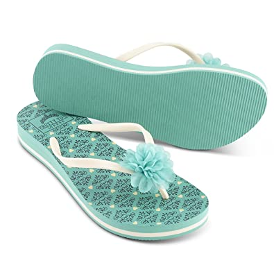 a047c876b9e9 Pretty You London Women s Summer Wedge Flip Flops - Tessa Turquoise (Small)