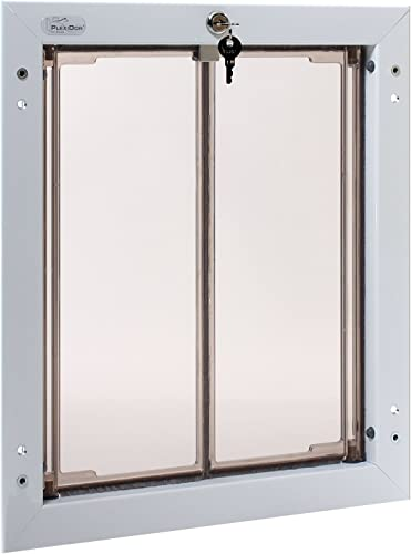 PlexiDor Performance Pet Doors for Dogs and Cats – Door Mount Dog Door with Lock and Key – White, Multiple Sizes