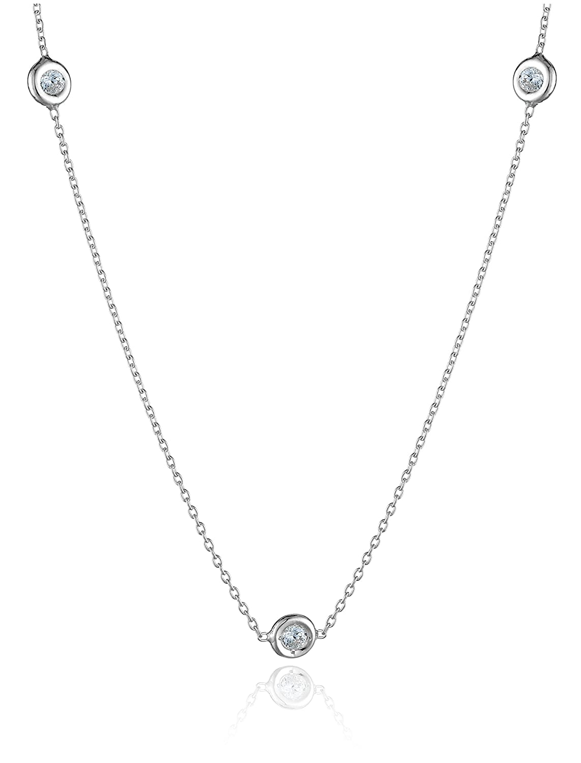 Amazon roberto coin tiny treasures 18k white gold 7 station amazon roberto coin tiny treasures 18k white gold 7 station diamond station necklace 13cttw g h color si1 clarity 16 2 jewelry mozeypictures Gallery