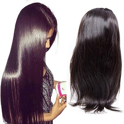Maxine Hair - Peluca de pelo humano virgen brasileño sin pegamento, pelo humano liso con
