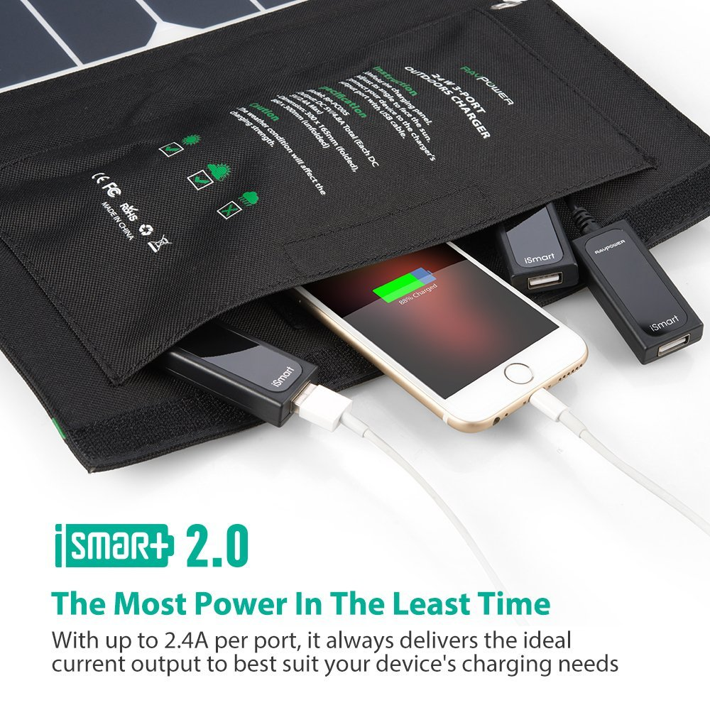 Solar Charger RAVPower 24W Solar Panel with Triple USB Ports Waterproof Foldable for Smartphones Tablets and Camping Travel (Certified Refurbished) by RAVPower (Image #5)