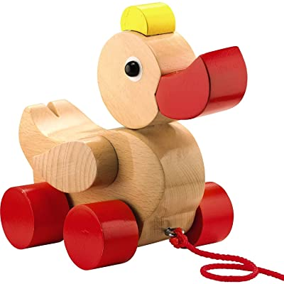 HABA Quack & Pull Classic Wooden Duck Pull Toy - Heirloom Quality Wobbling Toddler Toy Ages 1 & Up: Toys & Games