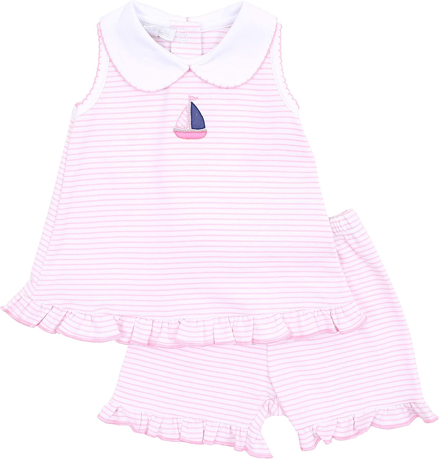 Magnolia Baby Baby Girl Baby Sailor Emb Collared Ruffle Short Set Pink