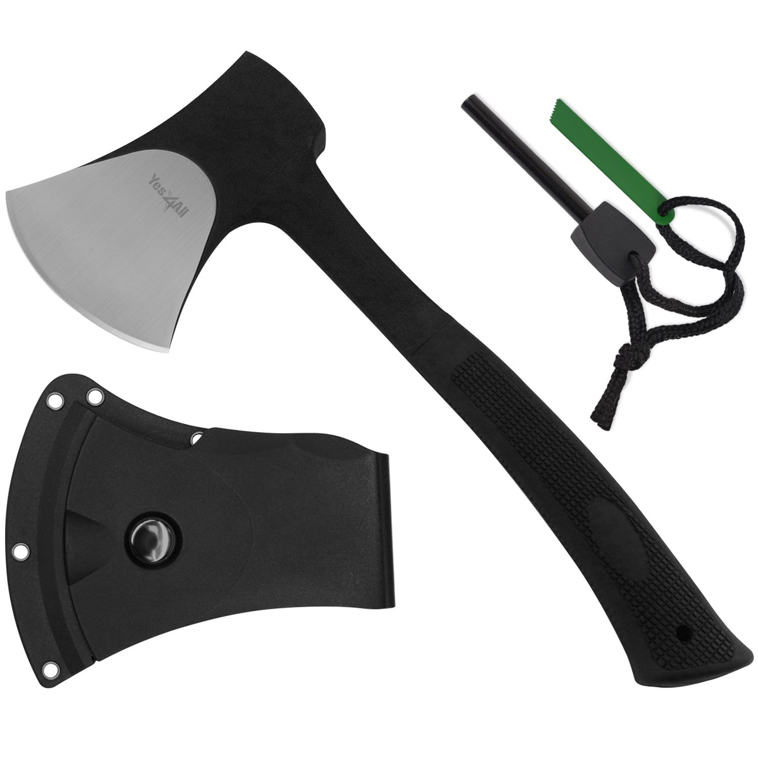 Yes4All Special Sales Outdoor Camping Hunting Survival Steel Multi Functional Axe w/Sheath H105 (Axe Sheath and Fire Starter)