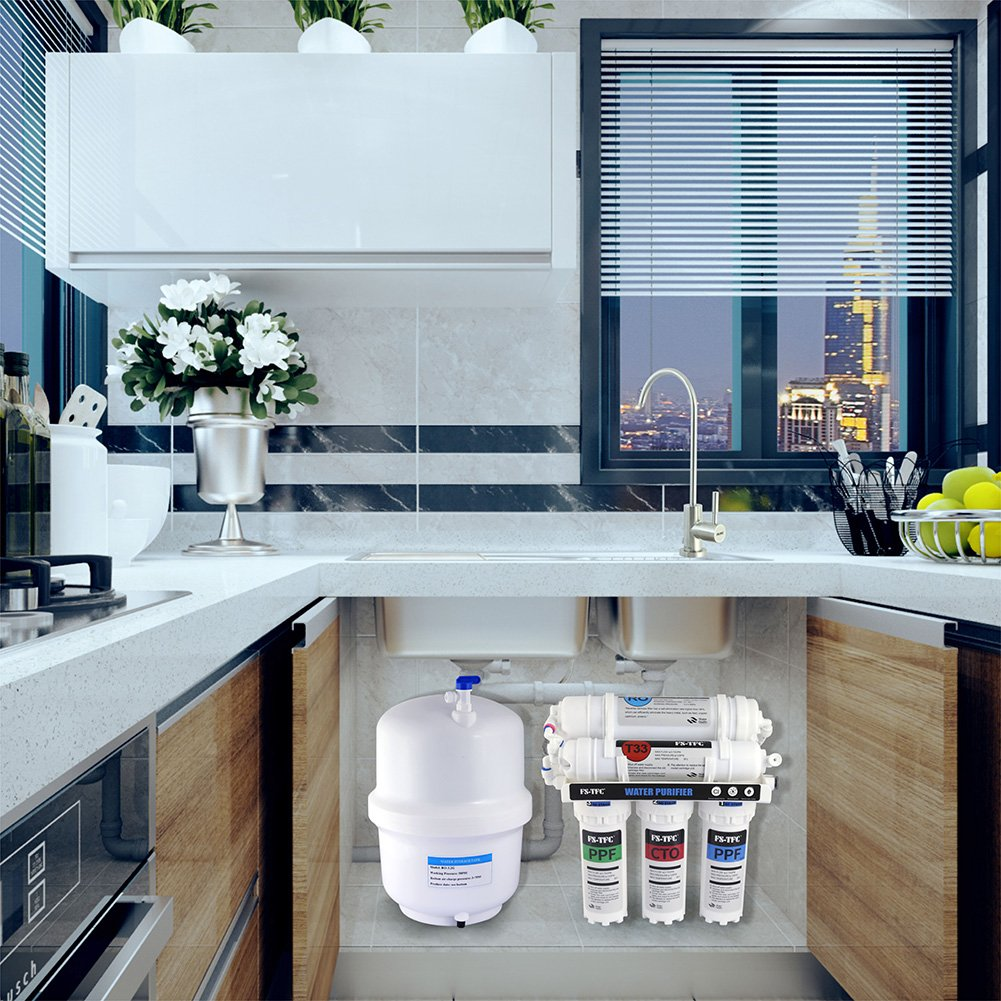 FS-TFC Reverse Osmosis Water Filtration System 100 GPD 5-Stage Plus ...