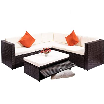 Super Amazon Com Patio Sectional Sofa With Storage Ottoman Ocoug Best Dining Table And Chair Ideas Images Ocougorg