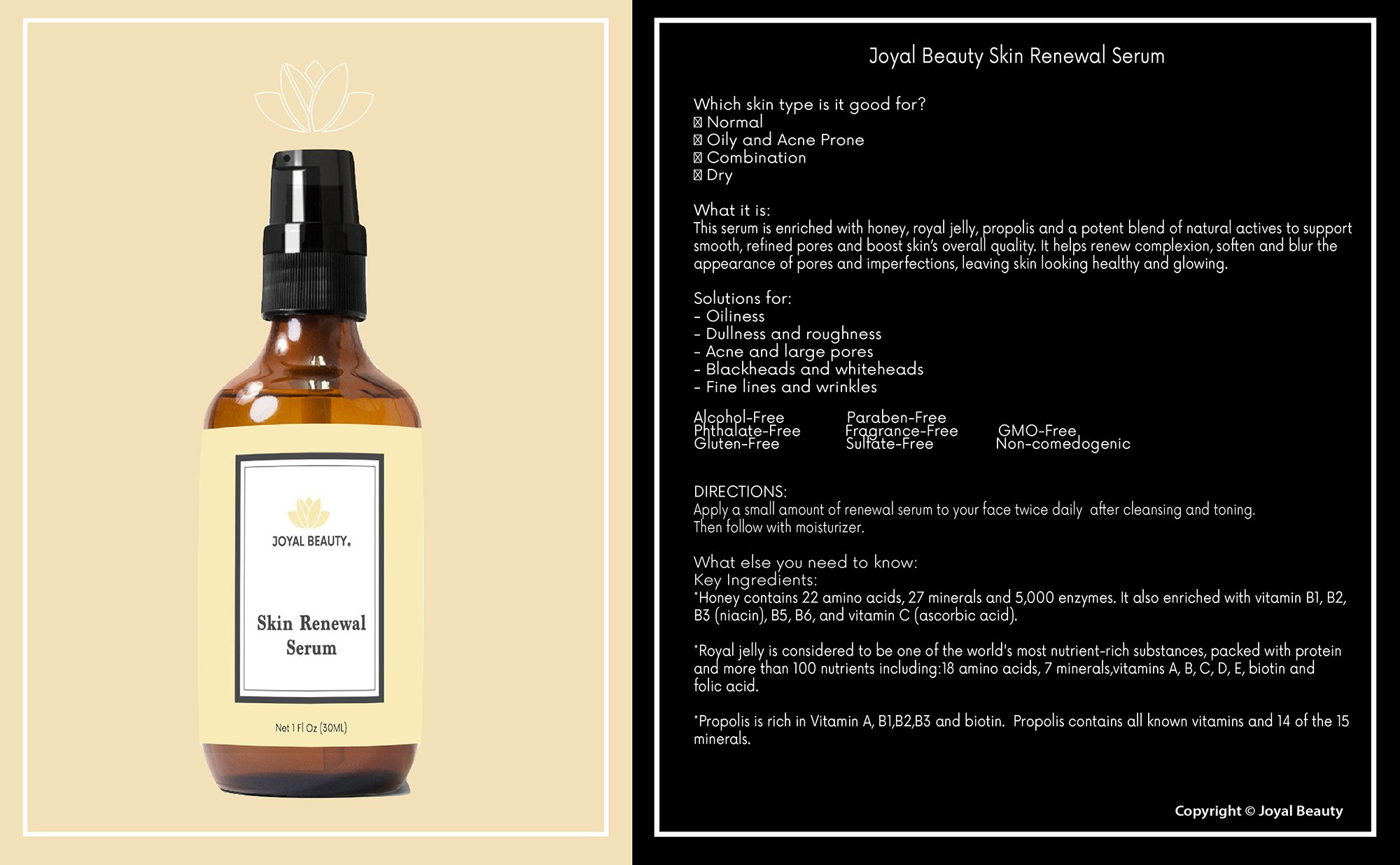 Joyal Beauty Organic Timeless Skin Renewal Serum for Face Skin Eyes. Best Intensive Firming Renewing Resurfacing Solution to Get Your Baby Soft Skin. Enriched with Honey, Royal Jelly, Bee Propolis. by Joyal Beauty (Image #2)