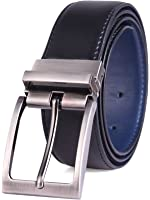 """Genuine Leather Belt With Single Prong Rotated Buckle - Adjustable Dress Belt For Men – 1.4"""" Wide Reversible Strap With Elegant Sleek Texture Finish – Comes In Black With Brown Or Navy"""