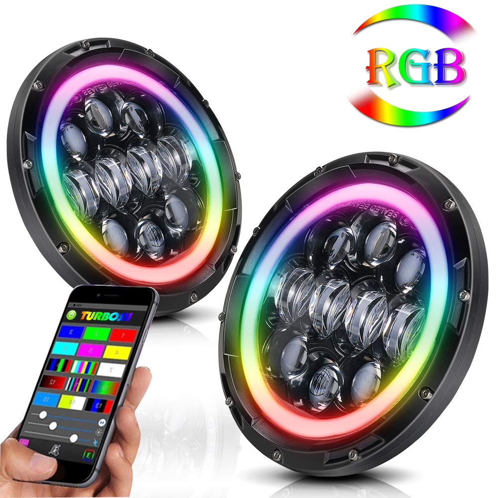 1 Year Warranty 4350366062 TURBOSII Pair RGB 7 LED Headlights with Color Changing Halo Ring Bluetooth Remote Control for 1997-2017 Jeep Wrangler JK LJ CJ Hummer H1 H2 Led Headlight