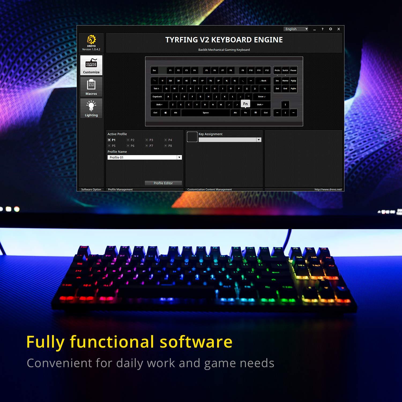 interruptor negro, negro con teclas multimedias soprte de software -Outemu Linear US Layout DREVO Tyrfing 87 Key V2 RGB Retroiluminado Tenkeyless teclado Mec/ánico Gaming
