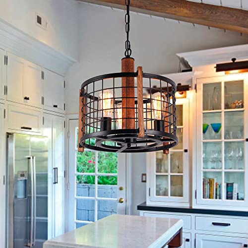 Giluta Rustic Round Chandelier Metal Cage Hanging Pendant Light