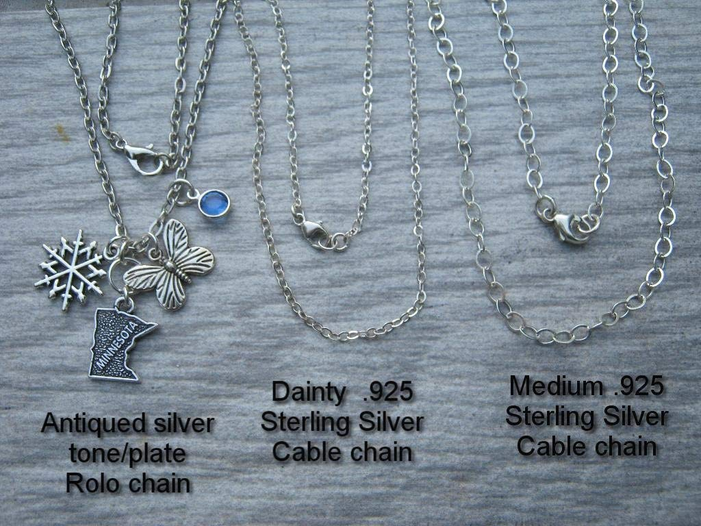 ANY 2 STATES Handmade Personalized Sterling Silver .925 Necklace in a gift box