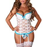 b37c27dd8a9 EVAbaby Plus Size Sexy Corset Garter Belt Lingerie Set for Women Exotic Floral  Lace Camisole Sleepwear