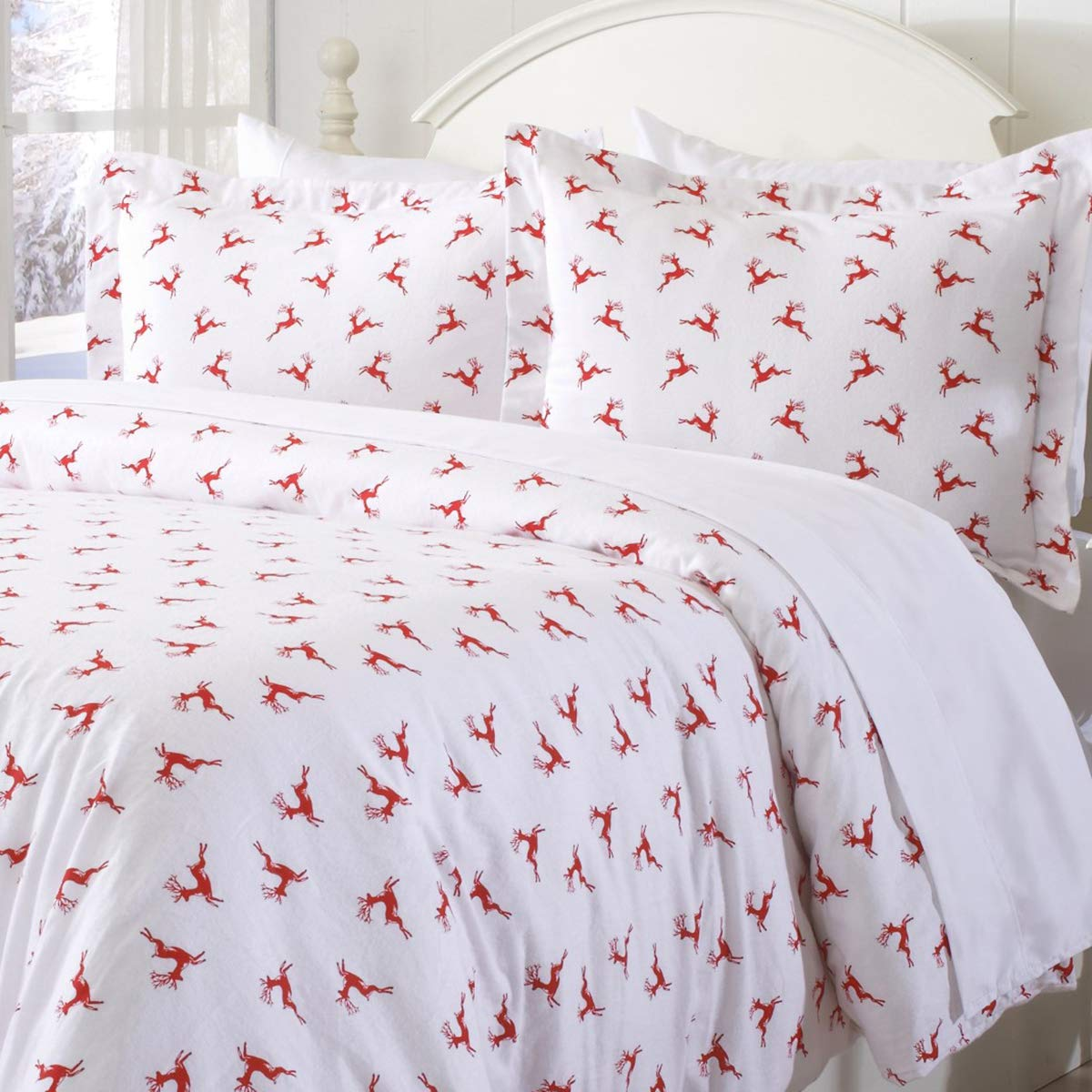 Great Bay Home Extra Soft Printed Flannel Duvet Cover with Button Closure. 100% Turkish Cotton 3-Piece Set with Pillow Shams. Belle Collection (Twin, Enchanted Woods)